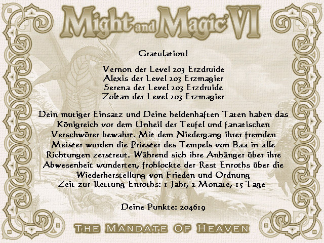 Might and Magic Urkunde